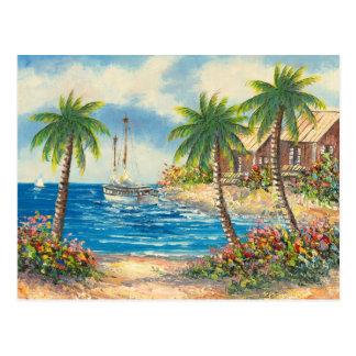 Malerei eines Segelboots in Hawaii Postkarten