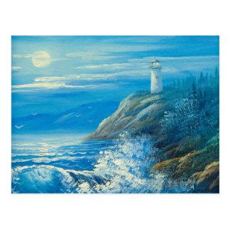 Malerei eines Vollmonds über einem Leuchtturm Postkarte
