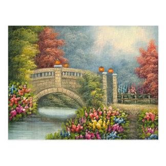 Malerei gehender Brücke A umgeben durch Blumen Postkarte