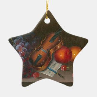 Malerei-Stillleben der Frucht und der Violine Keramik Stern-Ornament