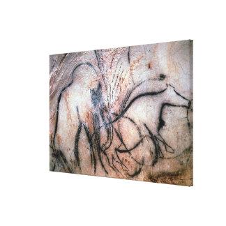 Malereien, die Mammut und Vieh, vom C darstellen Gespannter Galerie Druck