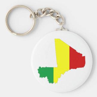 Mali-Landflaggen-Kartenform-Silhouettesymbol Standard Runder Schlüsselanhänger