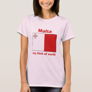 Malta-Flagge + Karte + Text-T - Shirt