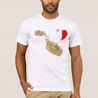 Malta-Flaggen-Herz und Karten-T - Shirt