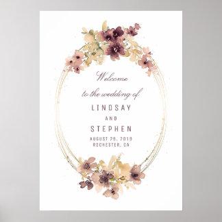 Malvenfarbe und GoldVintage Hochzeits-willkommenes Poster