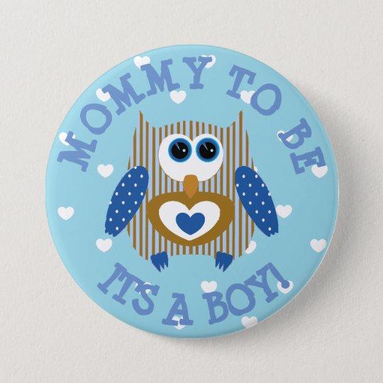 Mama, zum blauer Eulenherzen Babyparty-Knopf zu Runder Button 7,6 Cm