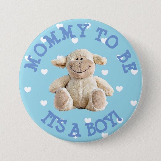 Mama, zum blauer Lammherzen Babyparty-Knopf zu Runder Button 7,6 Cm