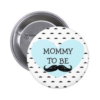 Mama, zum blauer und schwarzer Schnurrbart-Knopf Runder Button 5,7 Cm