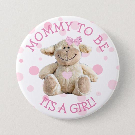 Mama, zum rosa Lamm-Babyparty-Knopf zu sein Runder Button 7,6 Cm