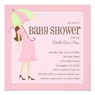 Mama zum zu sein - Babyparty des Rosa-  laden ein Quadratische 13,3 Cm Einladungskarte