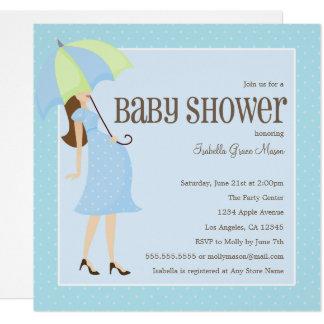 Mama zum zu sein - blaue   Babyparty laden ein Karte