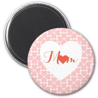 Mamma mit Rosa-vierblättriges Kleeblatt Herzen Runder Magnet 5,1 Cm