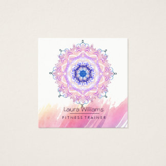 Mandala-Aquarell-Rosa-Lotus-Yoga-Lehrer Quadratische Visitenkarte