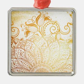 Mandala - goldene Bürste Silbernes Ornament