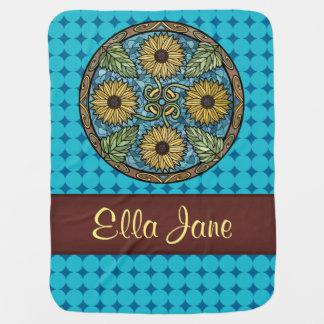 Mandala-helle Sonnenblume-blaue Namensgewohnheit Baby-Decke