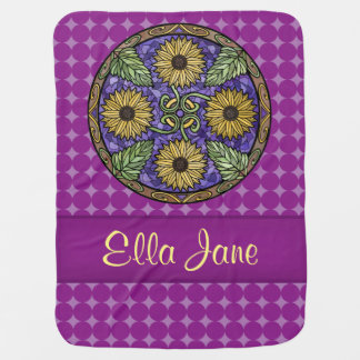 Mandala-helle Sonnenblume-lila Namensgewohnheit Baby-Decken