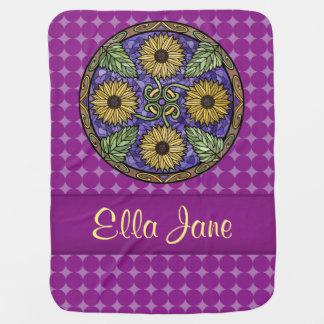 Mandala-helle Sonnenblume-lila Namensgewohnheit Kinderwagendecke