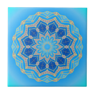 Mandala im elektrischen Blau und im Türkis Kleine Quadratische Fliese