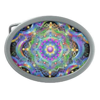 Mandala-Universum-Regenbogen färbt Gürtelschnalle