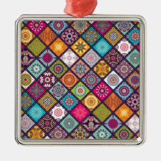 Mandalamuster bunter Marokkaner Silbernes Ornament