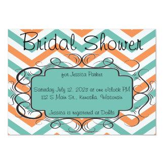 Mandarine-Zickzack Brautparty-Smaragdeinladung 12,7 X 17,8 Cm Einladungskarte