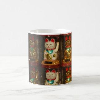 Maneki-neko 002, Winke-Glueckskatzen, Winkekatze Kaffeetasse