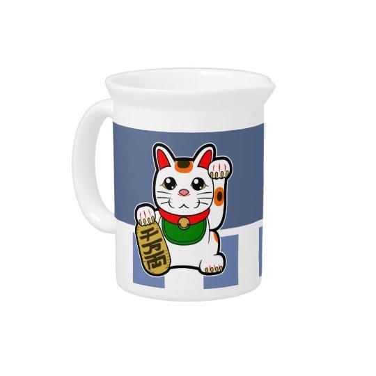 Maneki Neko: Japanische glückliche Katze Getränke Pitcher