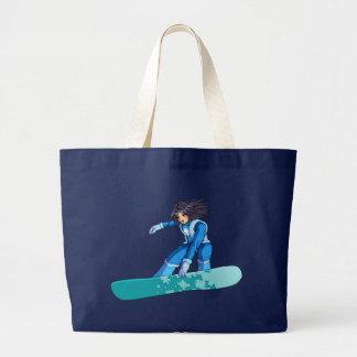 Manga Snowboarder-Mädchen Jumbo Stoffbeutel