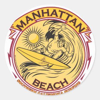 MANHATTAN BEACH KALIFORNIEN RUNDER AUFKLEBER