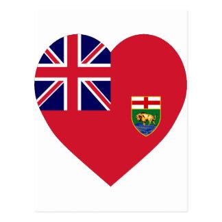 Manitoba-Flaggen-Herz Postkarte