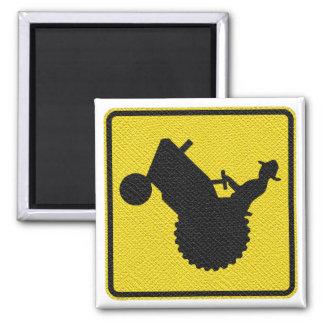 Mann auf Traktor-Zeichen-Anzeige diagonal Quadratischer Magnet