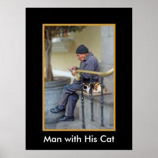 Mann mit seiner Katze - die Zeitung Poster