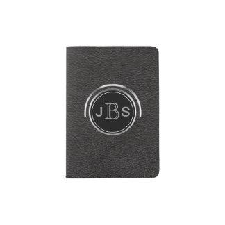 Männlicher mit Monogramm | silberner schwarzer Passhülle