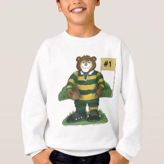 Männlicher Rugby-Bär im Grün und im Gold Sweatshirt