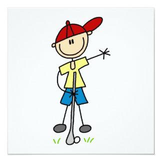 Männlicher Strichmännchen-Golfspieler Personalisierte Einladung