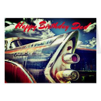 Männlicher Verwandter, Geburtstag. Vintages Auto Grußkarte