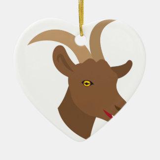 männliches niedliches Ziegengesicht Keramik Herz-Ornament