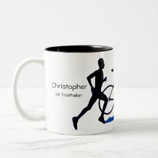 Männliches Triathlon-Andenken Zweifarbige Tasse