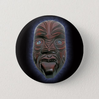 Maori- geschnitzte Maske - Knopf Runder Button 5,7 Cm