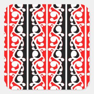 Maori- Kowhaiwhai traditionelles Muster Quadratischer Aufkleber