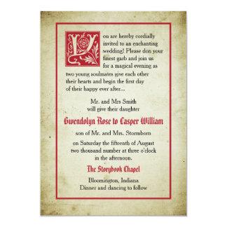 Märchen-Hochzeits-Eltern der Storybook-Seiten-| 12,7 X 17,8 Cm Einladungskarte