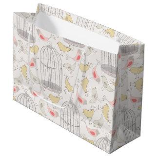Märchenland-Vogel u. Birdcages-Muster Große Geschenktüte