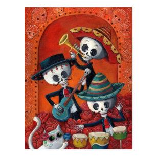 Mariachi-Trio Dia de Los Muertos Skeleton Postkarte