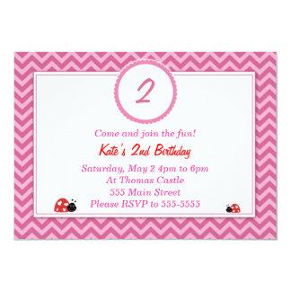 Marienkäfer-Einladungs-Mädchen-Geburtstags-Party 12,7 X 17,8 Cm Einladungskarte
