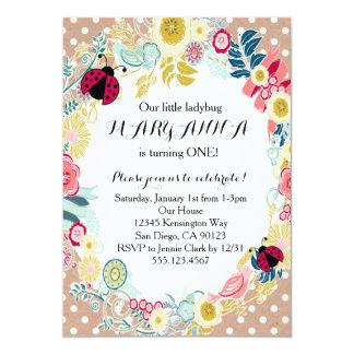 Marienkäfer-erste Mädchen-Geburtstags-Party 12,7 X 17,8 Cm Einladungskarte