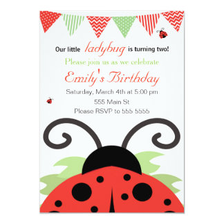 Marienkäfer-Mädchen-Geburtstags-Einladungs-Karte 12,7 X 17,8 Cm Einladungskarte