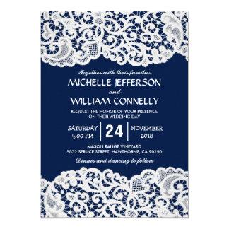 Marine-Blau-elegante Brautspitze-Hochzeit 12,7 X 17,8 Cm Einladungskarte