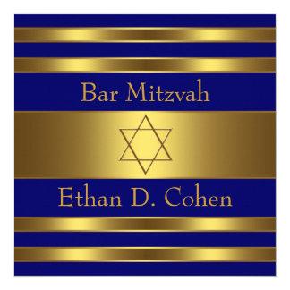 Marine-Blau-Golddavidsstern Bar Mitzvah Karte