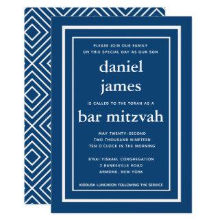 Marine-Blau-moderne Bar Mitzvah Einladung