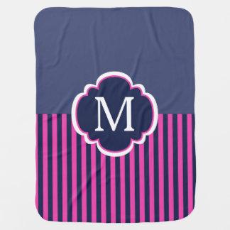 Marine-Blau-Rosa Stripes Monogramm Babydecke